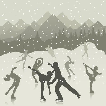 Figure skating on lake a skating rink. A vector illustration Illustration