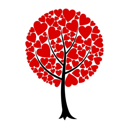 Tree of love from red hearts. A vector illustration Vector