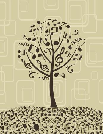 chiave di violino: Albero da note musicali. Una illustrazione vettoriale