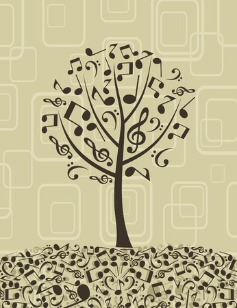 retro music: Tree from musical notes. A vector illustration