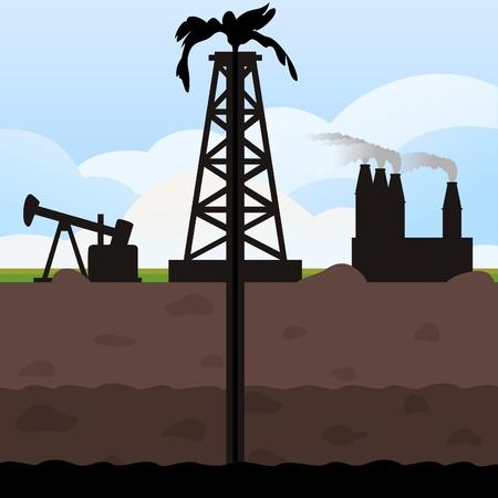 нефтяной: Масло башня качается от земли. Векторные иллюстрации Иллюстрация