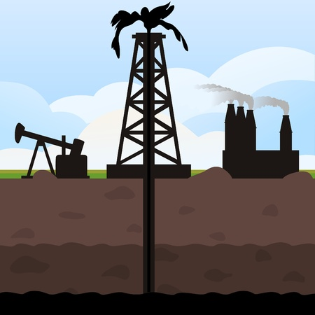 The tower swings oil from the earth. A vector illustration