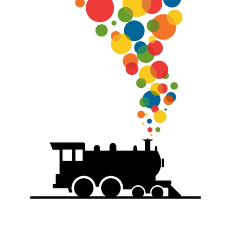 locomotive: Balls from a train pipe. A vector illustration