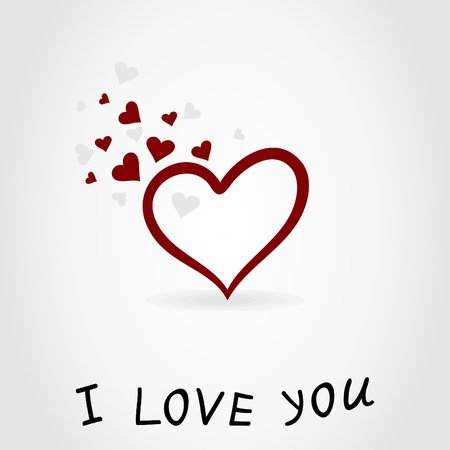 Heart and inscription about love. A vector illustration Vector