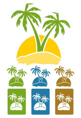 spa resort: The palm tree image on island. A vector illustration Illustration