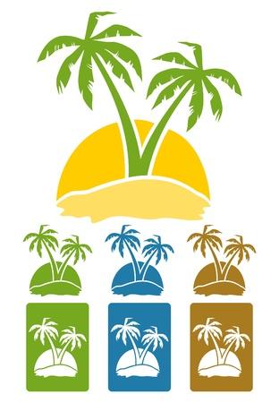 sunburn: The palm tree image on island. A vector illustration Illustration