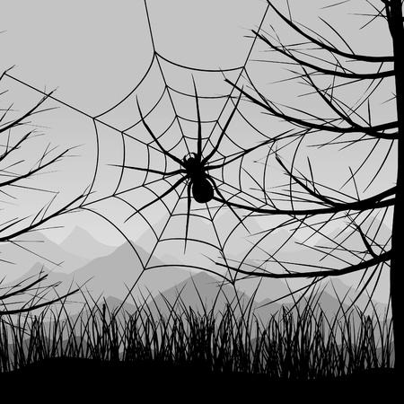gruselig: Spinne auf einem Web gegen den n�chtlichen Himmel. Ein Vektor-Illustration