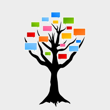 Speaking tree on a white background. A vector illustration Vector