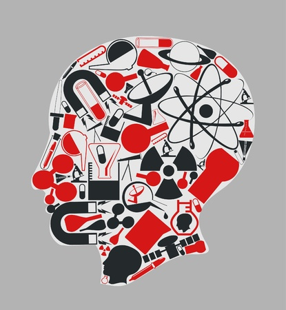 magnets: The head of the person consists of objects of science. A vector illustration