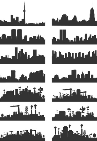 Silhouettes of cities on a white background. A vector illustration Vector