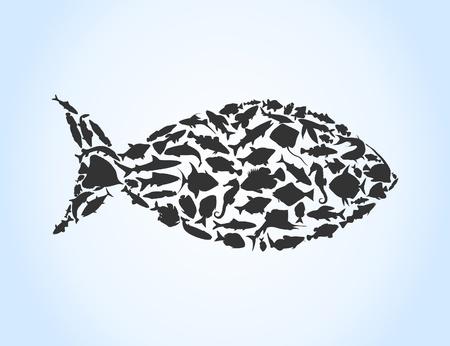 atun: Peces recolectados de pequeños peces. Una ilustración vectorial