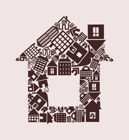 residential structure: The house made of other houses. A vector illustration