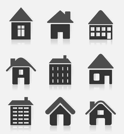 Set of icons of houses. A vector illustration Stock Vector - 11271100
