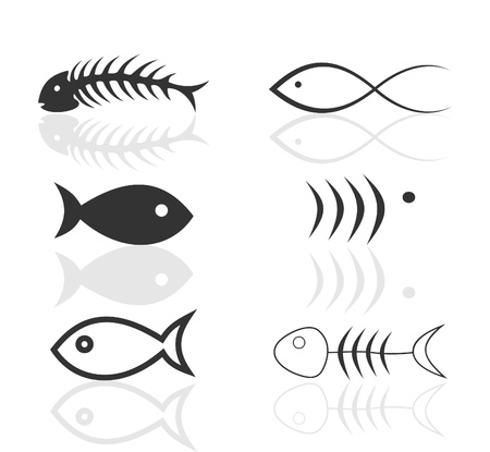 fish icon: Set of icons on a theme fish. A vector illustration