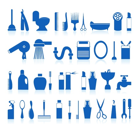 hair dryer: Set of icons on a theme a bathroom. A vector illustration