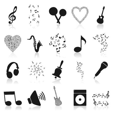 chiave di violino: Set di trame musicali di note. Una illustrazione vettoriale Vettoriali