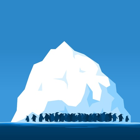 antarctic: Penguins on ice in the north. A vector illustration