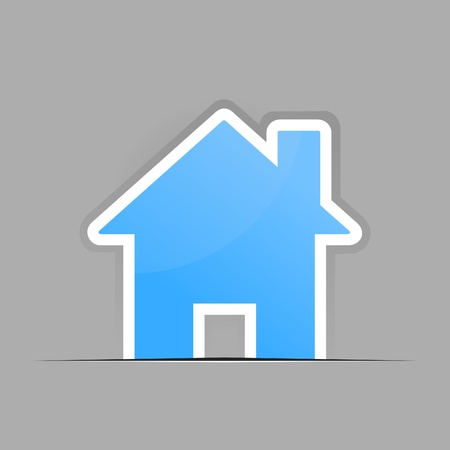 The small blue house on a grey background. A vector illustration Vector