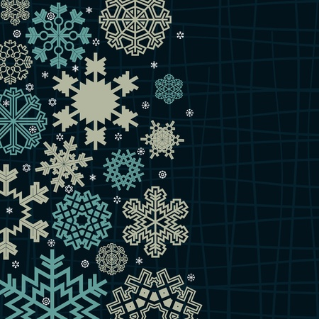 Structure a snowflake on a blue background. A vector illustration Vector