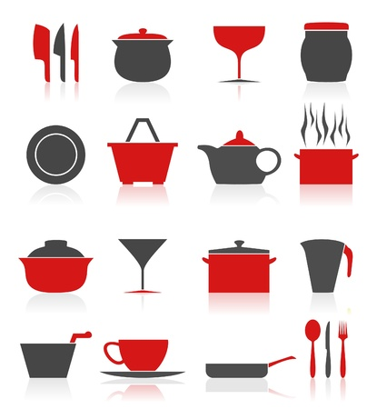 Set of icons on a theme kitchen. A vector illustration Vector