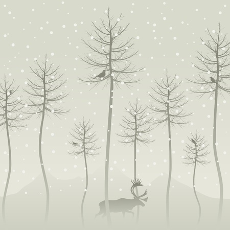 Snow in winter wood. A vector illustration Stock Vector - 11271175