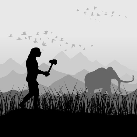 mammoth: The ancient person on hunting for a mammoth. An illustration Illustration