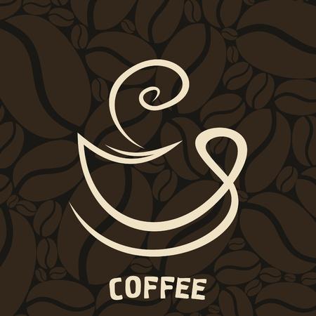 planta de cafe: Blanco taza de café sobre un fondo marrón Una ilustración Vectores
