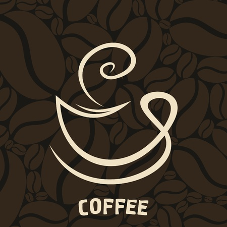 coffee coffee plant: White cup of coffee on a brown background  An illustration