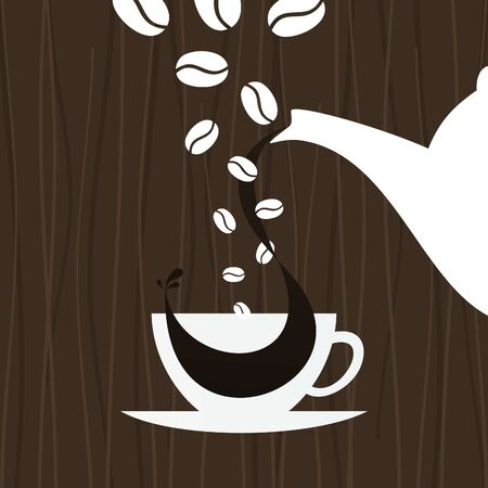 hot chocolate drink: In a cup pour coffee  An illustration Illustration