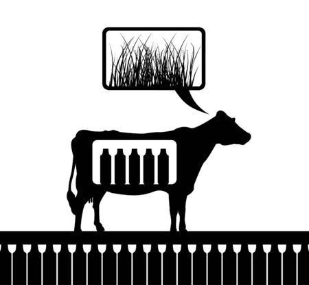 The cow thinks of a grass  An illustration Vector