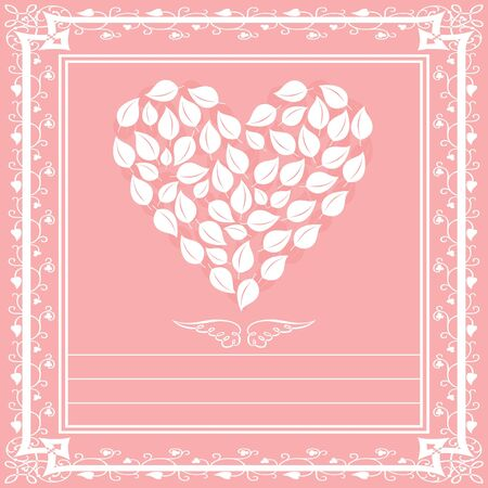 victorian valentine: White heart a framework on a pink background  An illustration