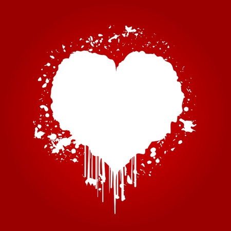 shaped: White heart a blot on a red background  An illustration