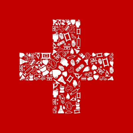 bandaging: White cross on a red background  An illustration