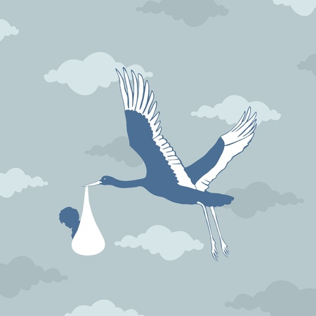 The stork bears the kid in a beak  An illustration Vector