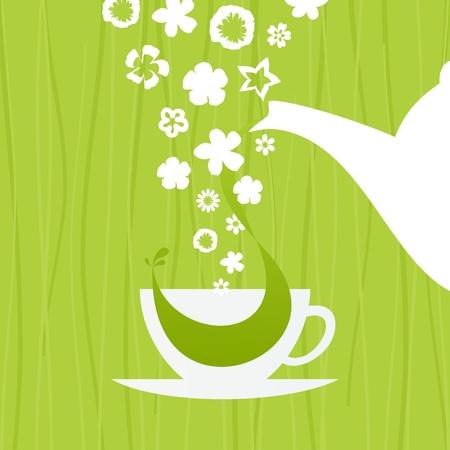 afternoon: En una taza de t� verde, una ilustraci�n