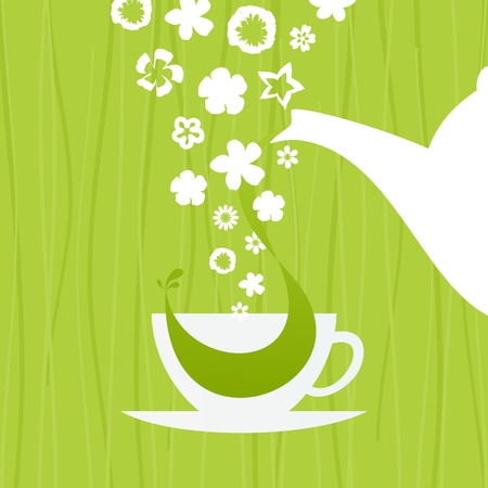 In a cup green tea  An illustration Vector