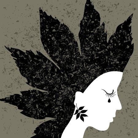 blindly: La mujer llora a ciegas. Una ilustraci�n del vector