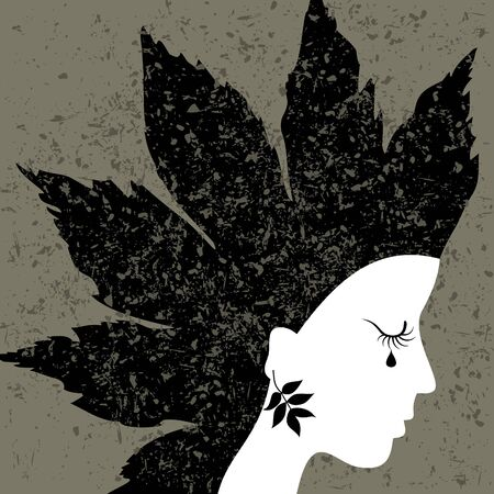 The woman blindly cries. A vector illustration Vector