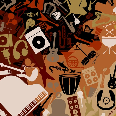 Background from musical instruments  A vector illustration Stock Vector - 12595321