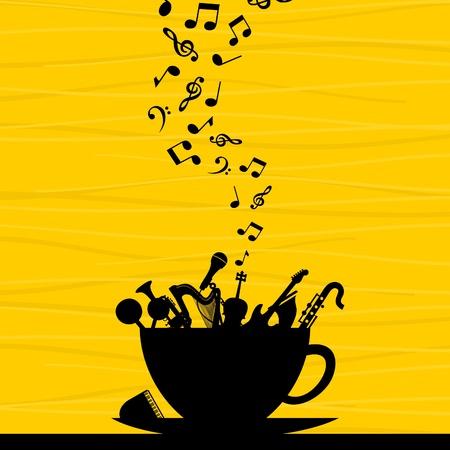hot plate: Instrumentos musicales en una taza Una ilustraci�n vectorial