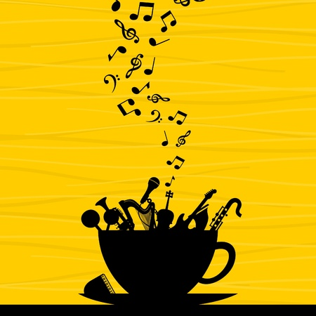 hot plate: Musical instrument in a cup  A vector illustration Illustration