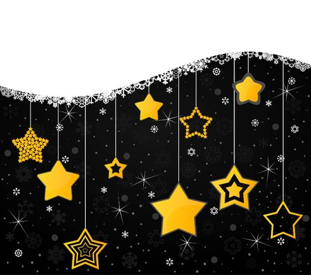 Gold stars on a black background  A vector illustration