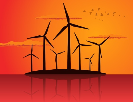 ecologically: Ecologically a wind net energy  A vector illustration