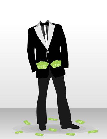 bolsa dinero: El hombre de negocios con el dólar en lugar de una cabeza. Una ilustración del vector Vectores