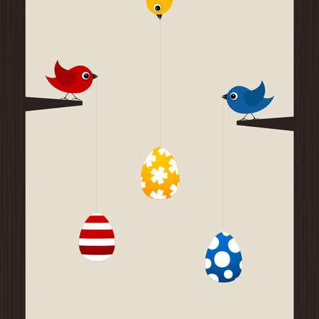 Birds hold Easter eggs on a cord  A vector illustration Vector