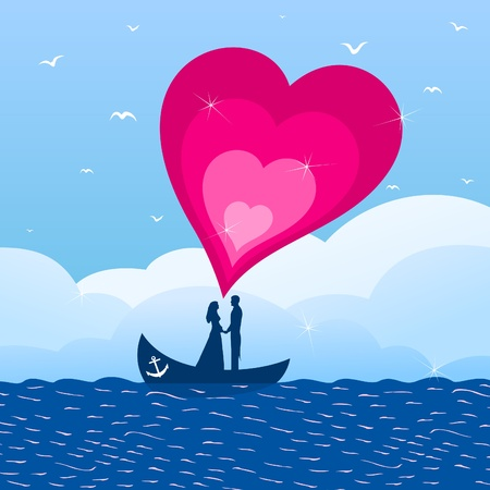 enamoured: Enamoured by a boat in the sea  A vector illustration Illustration