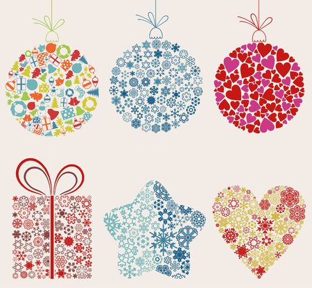 new love: Set of ornaments for Christmas  A vector illustration