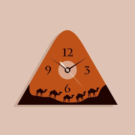 readout: Hours in the form of a caravan of camels  A vector illustration Illustration