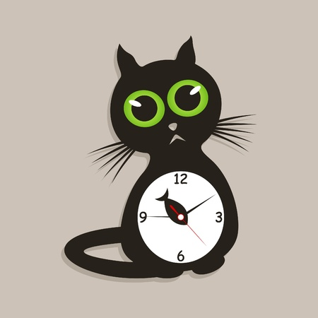 Hours in the form of a cat  A vector illustration Vector
