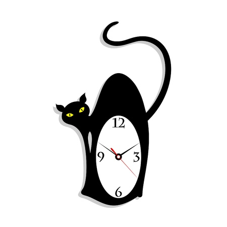 big game: Hours in the form of a cat  A vector illustration